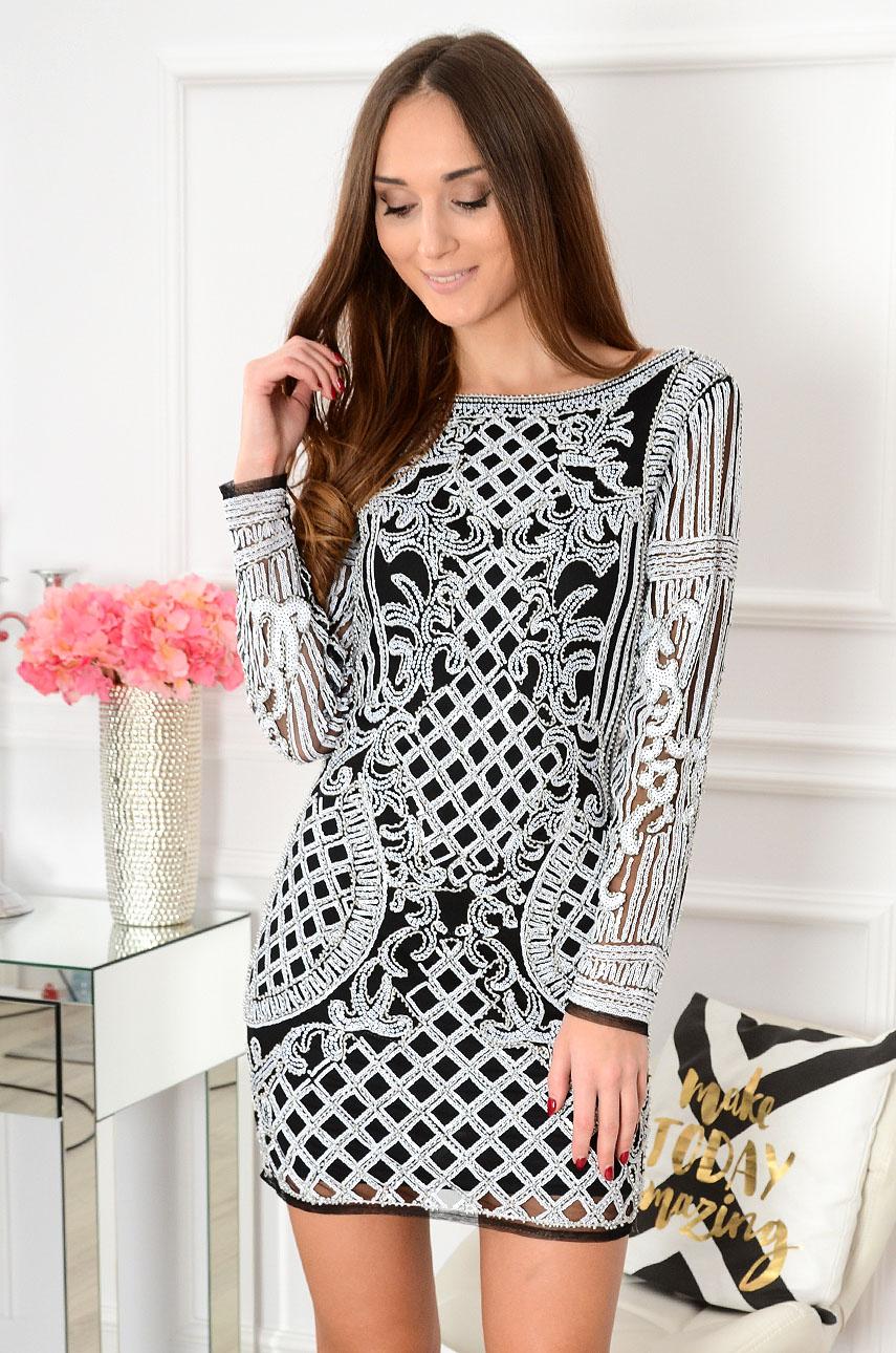 Sukienka tuba w cekinowe wzory Diva czarno-biała Rozmiar: M