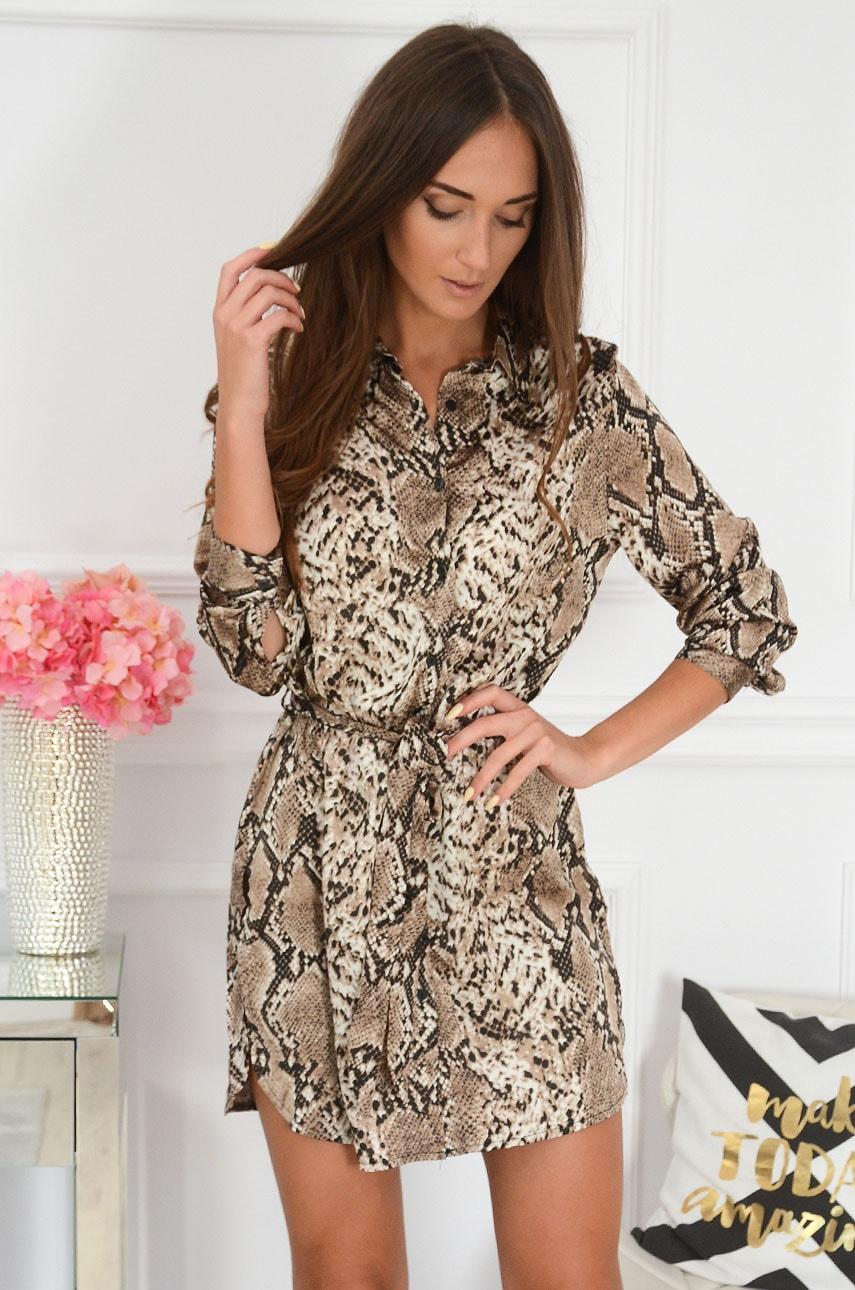 Sukienka tunika koszulowa wężowa kamel Agar Rozmiar: XL