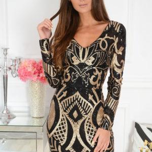 Sukienka w cekinowe wzory czarno-złota Sequin Rozmiar: S