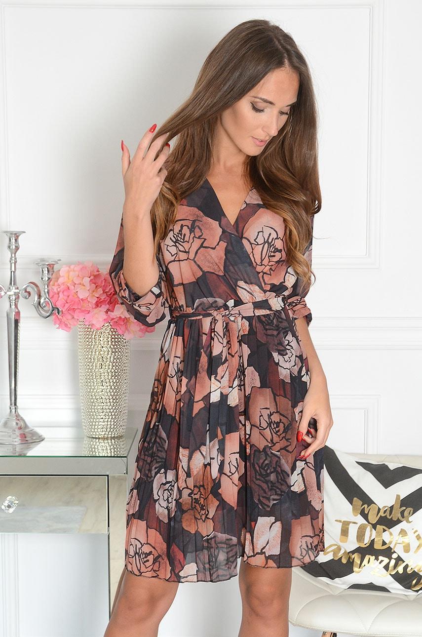 Sukienka w jesienne kwiaty plisowany dół czarna Miure Rozmiar: UNI