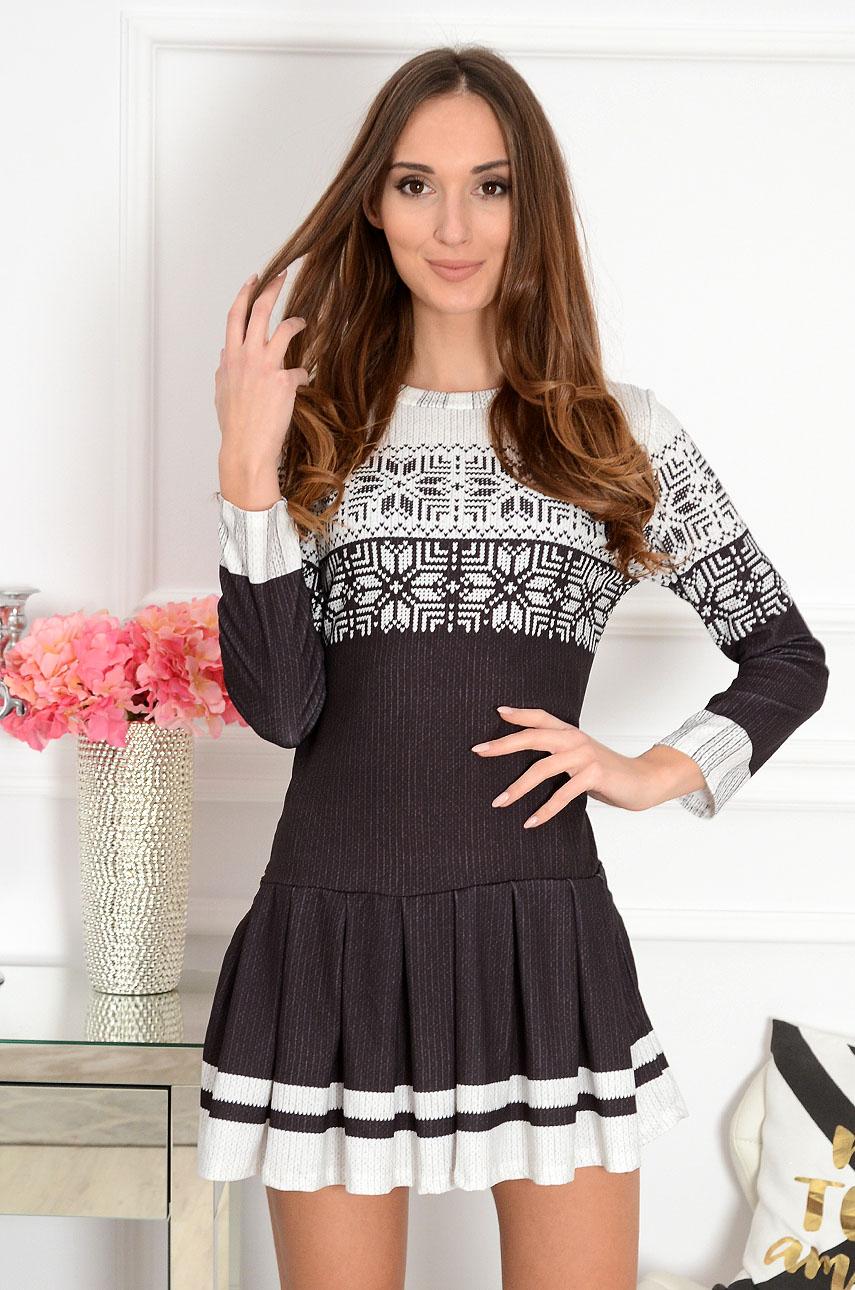Sukienka w sweterkowy wzór grafit Snowy Star Rozmiar: UNI
