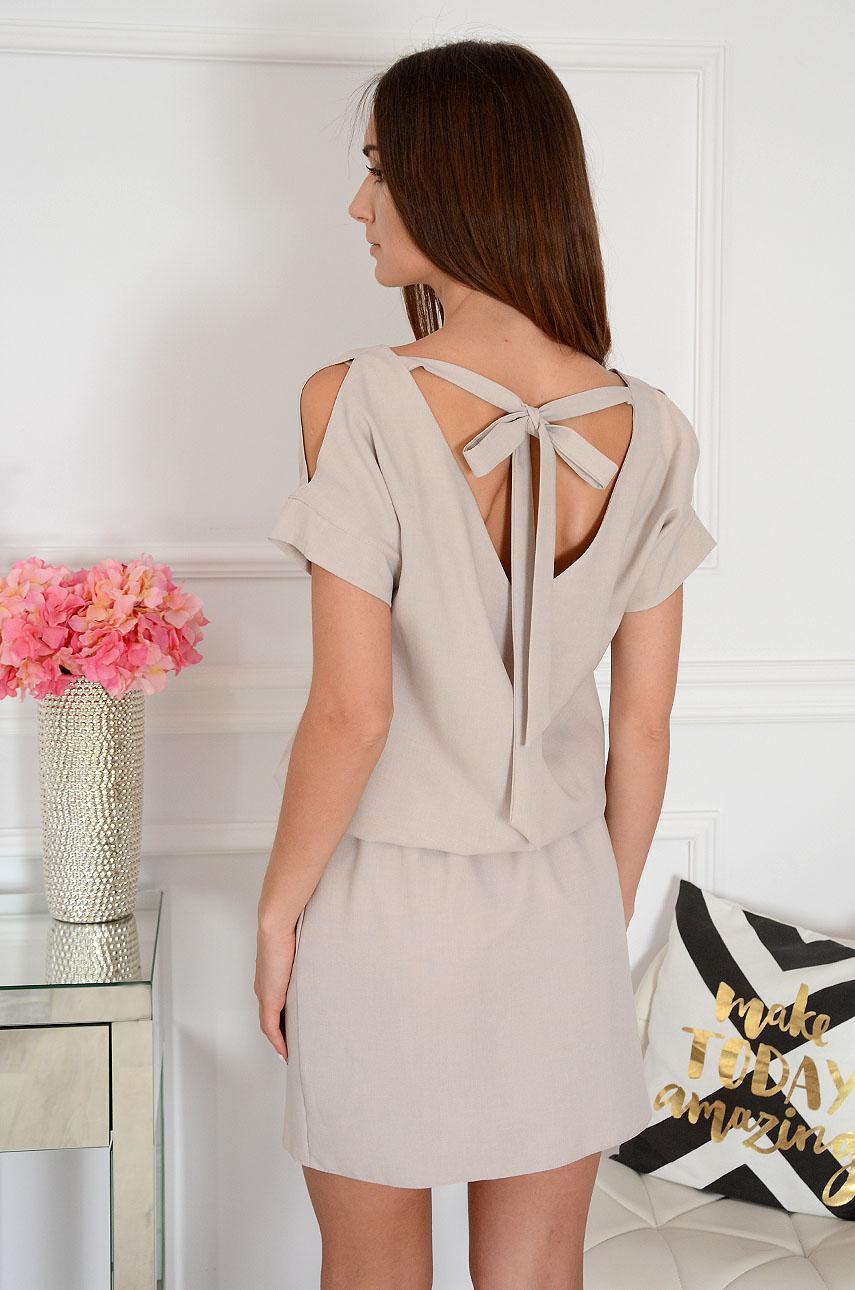 Sukienka wiązany dekolt na plecach beżowa Leona Rozmiar: M