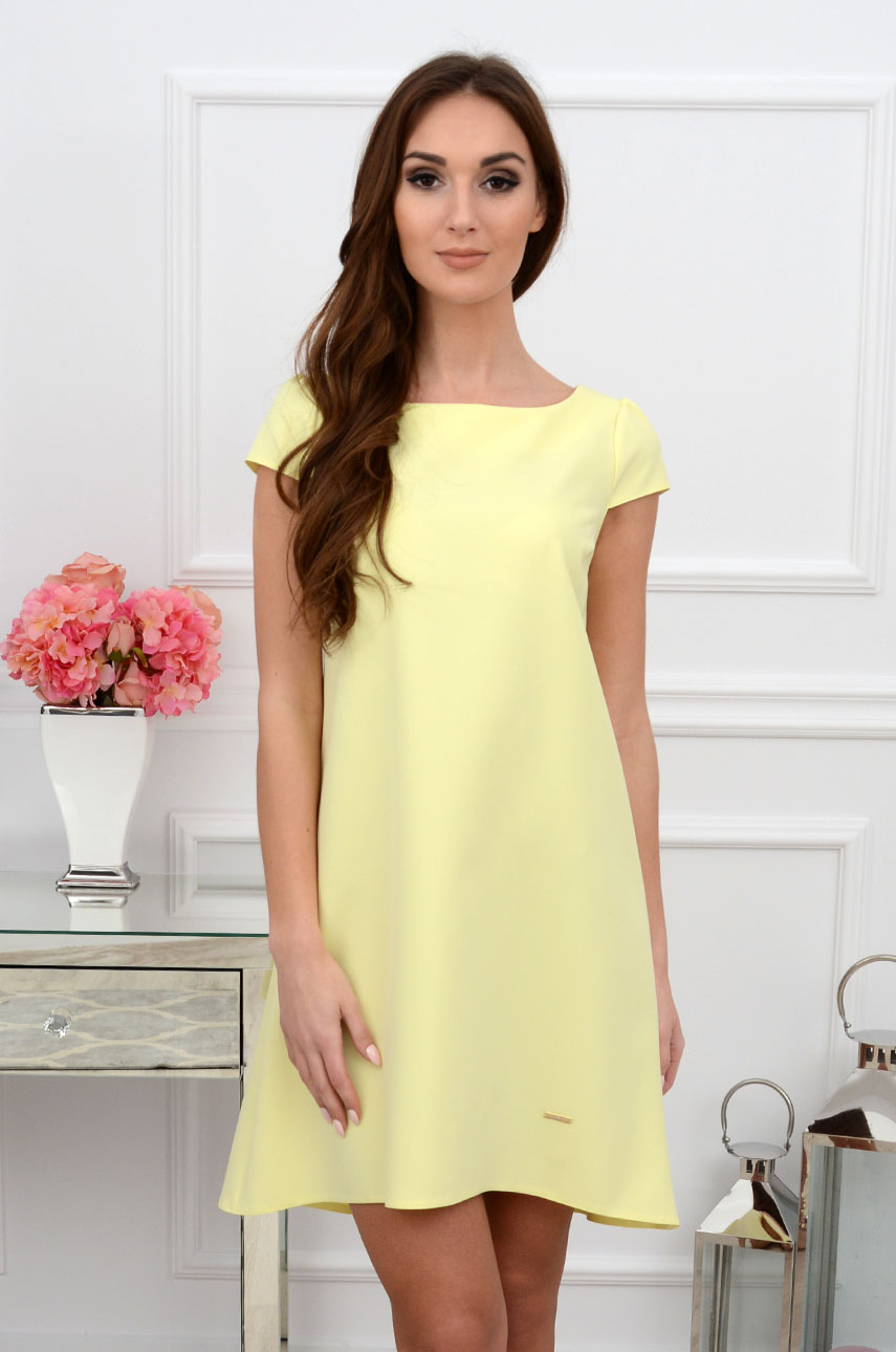 Sukienka z łezką dłuższy tył bananowa Rozmiar: M