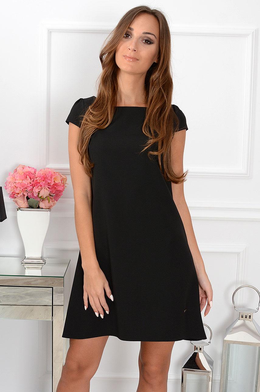 Sukienka z łezką dłuższy tył czarna Rozmiar: S
