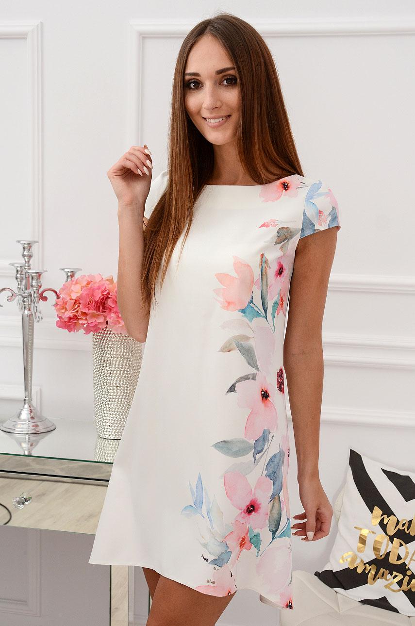 Sukienka z łezką dłuższy tył delikatne kwiaty B Rozmiar: S