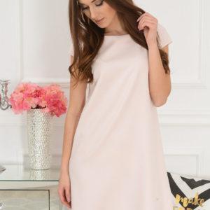 Sukienka z łezką dłuższy tył jasny pudrowy róż Rozmiar: S
