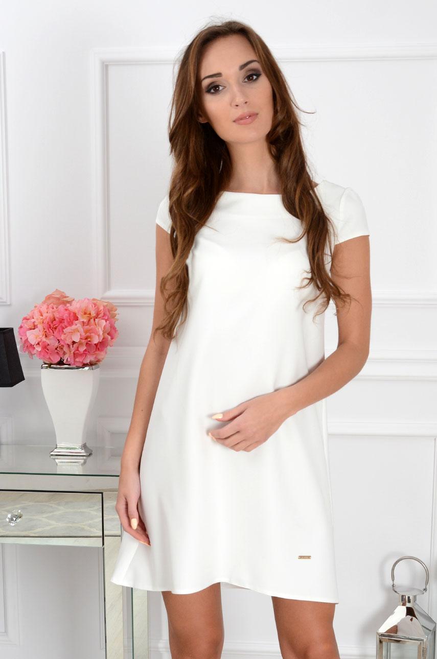 Sukienka z łezką dłuższy tył kremowa Rozmiar: M