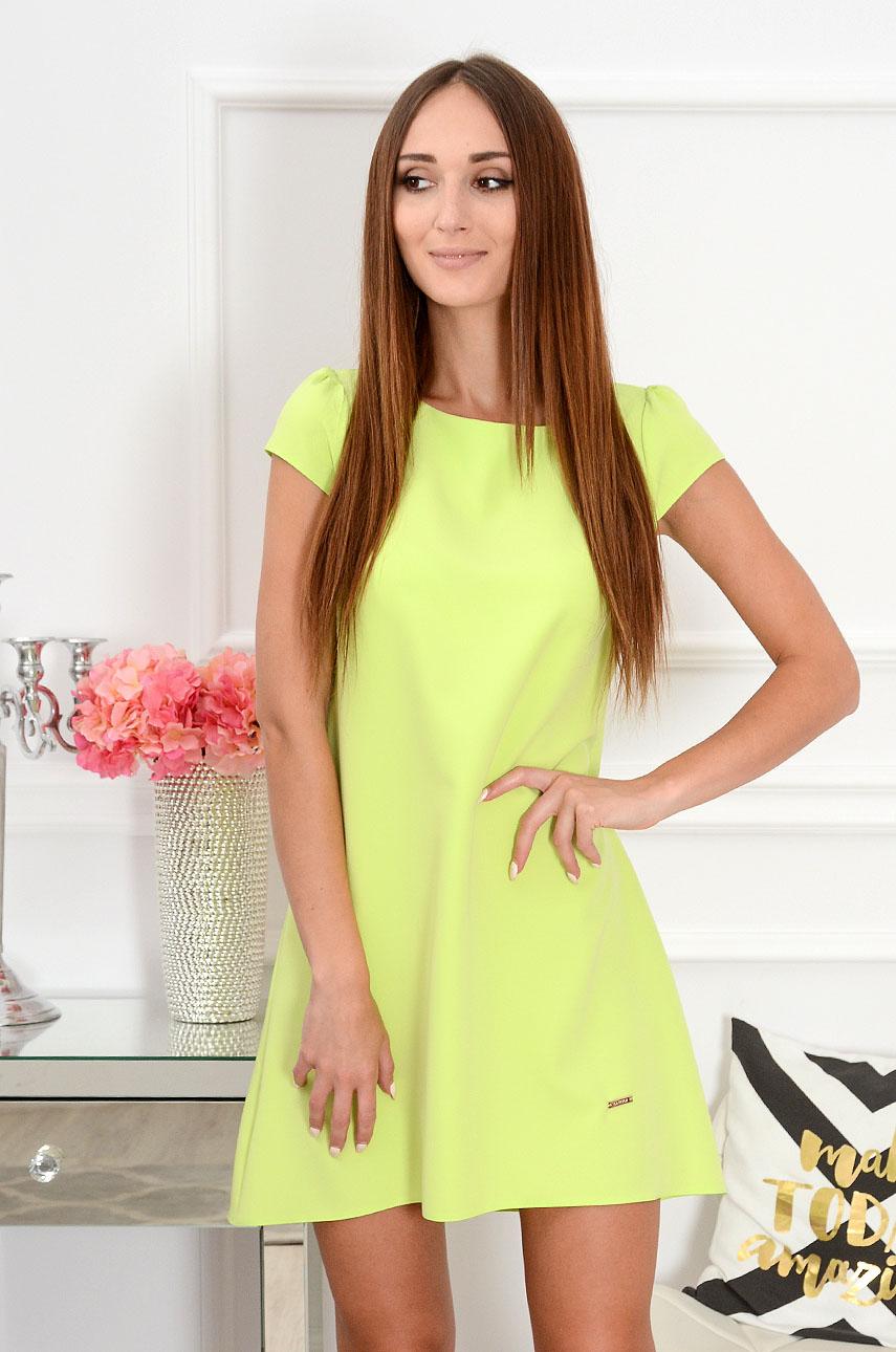 Sukienka z łezką dłuższy tył limonka neon Rozmiar: S