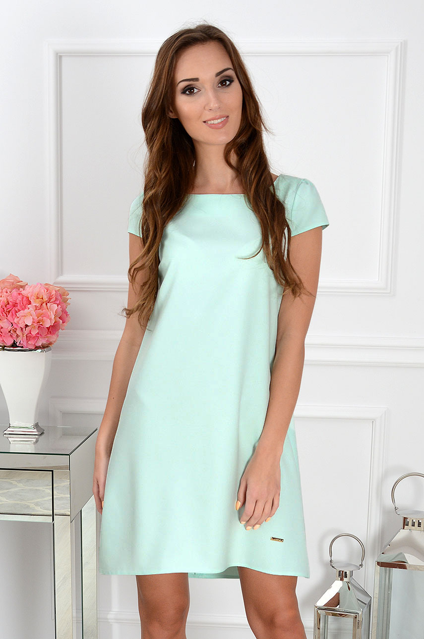 Sukienka z łezką dłuższy tył miętowa Rozmiar: XL