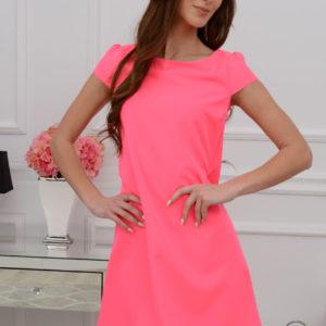 Sukienka z łezką dłuższy tył neonowy róż Rozmiar: S