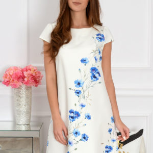 Sukienka z łezką dłuższy tył w chabry Rozmiar: S