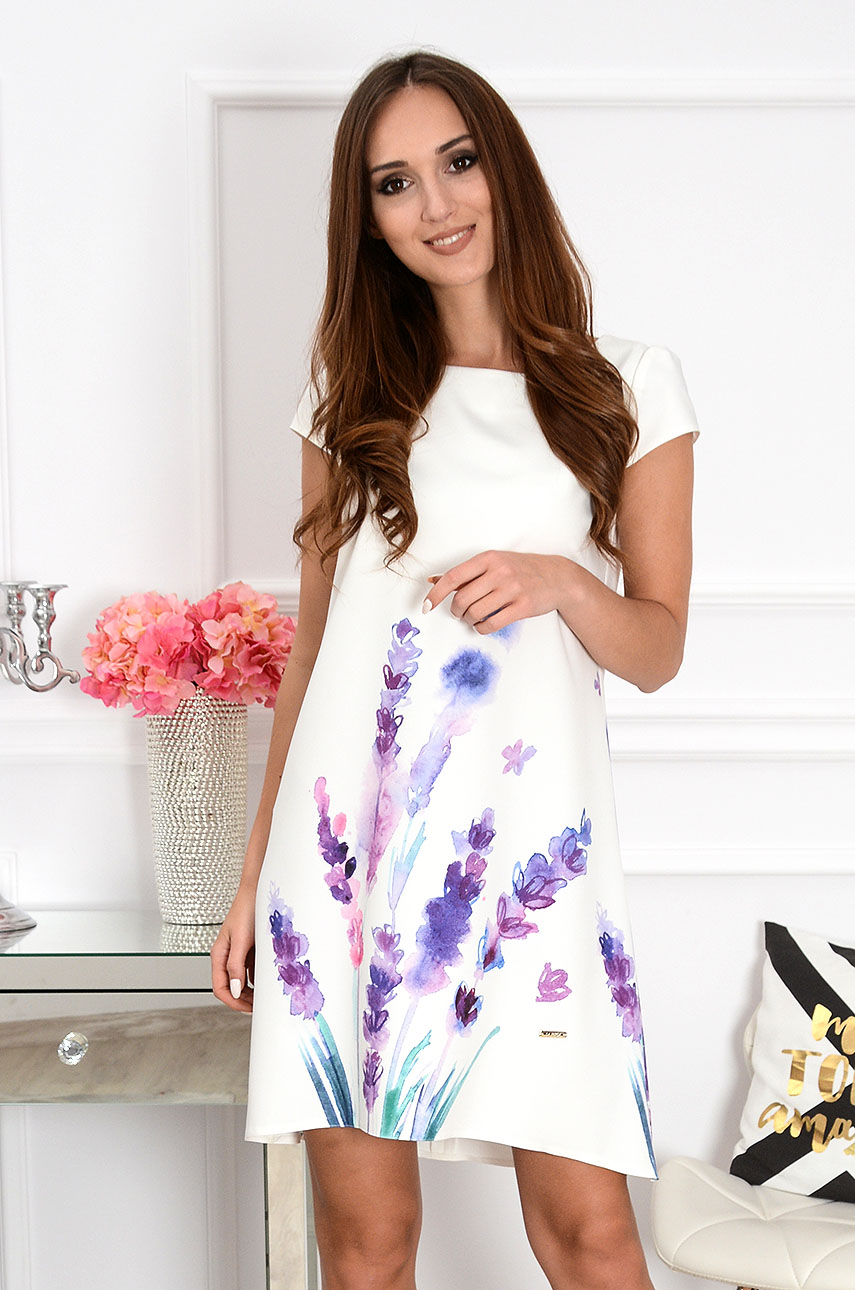 Sukienka z łezką dłuższy tył w fioletowe kwiaty Rozmiar: S