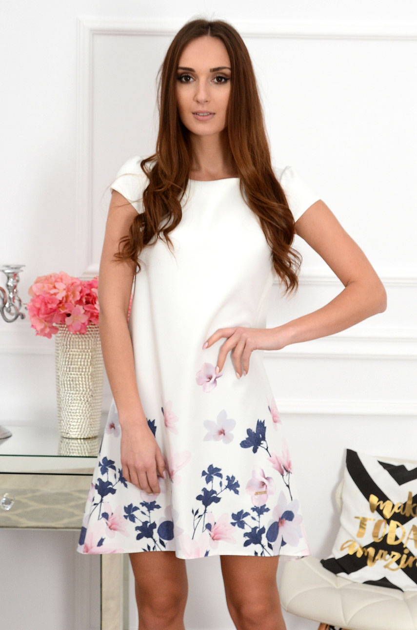 Sukienka z łezką dłuższy tył w pastelowe kwiaty Rozmiar: S