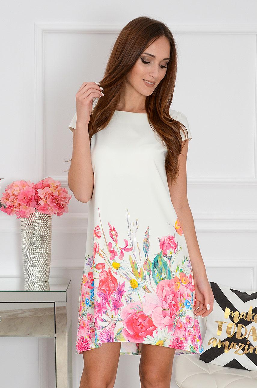 Sukienka z łezką dłuższy tył w polne kwiaty Rozmiar: S