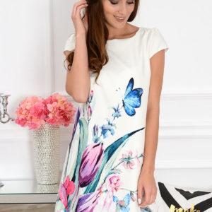 Sukienka z łezką dłuższy tył w tulipany i motyle Rozmiar: S