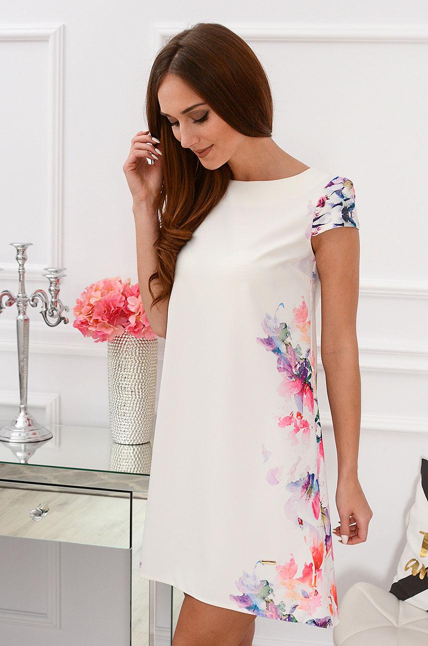 Sukienka z łezką dłuższy tył z kwiatowymi bokami Rozmiar: S