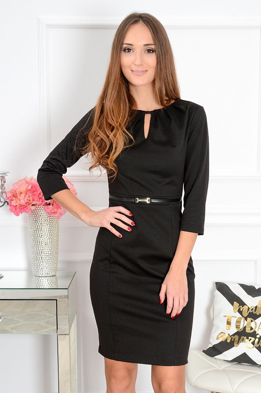 Sukienka z łezką i paskiem Amelia czarna Rozmiar: XL