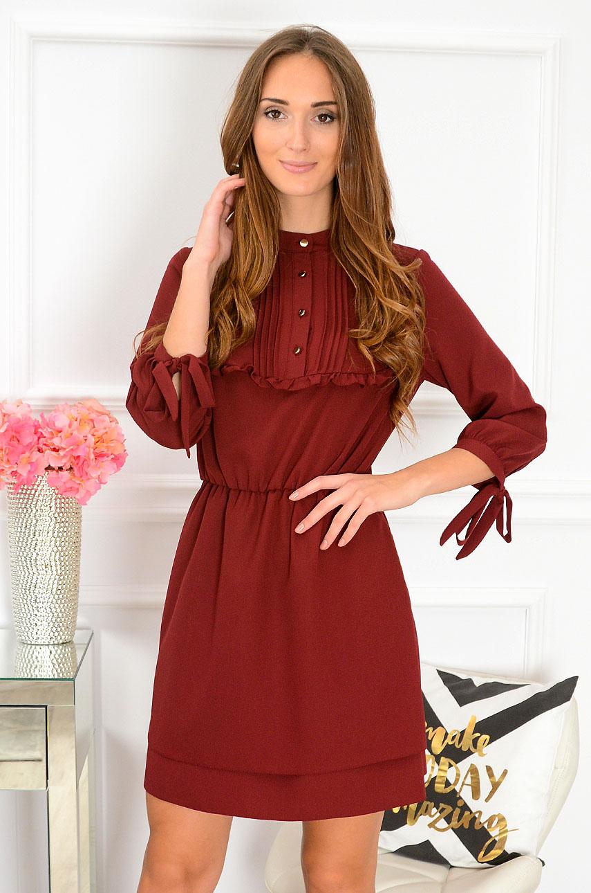 Sukienka z żabotem i falbanką Charlotte burgund Rozmiar: S