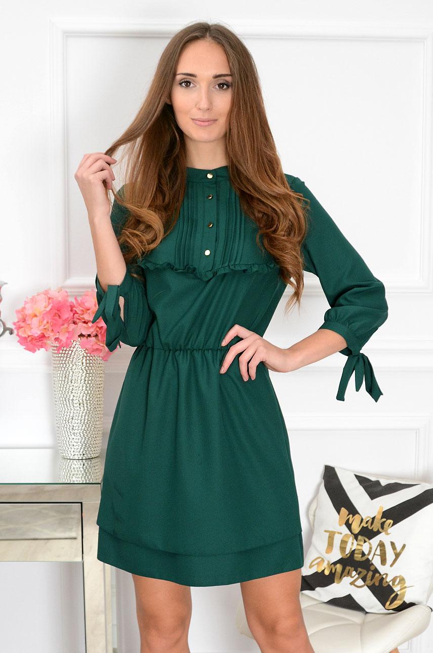 Sukienka z żabotem i falbanką Charlotte ciemna zieleń Rozmiar: L