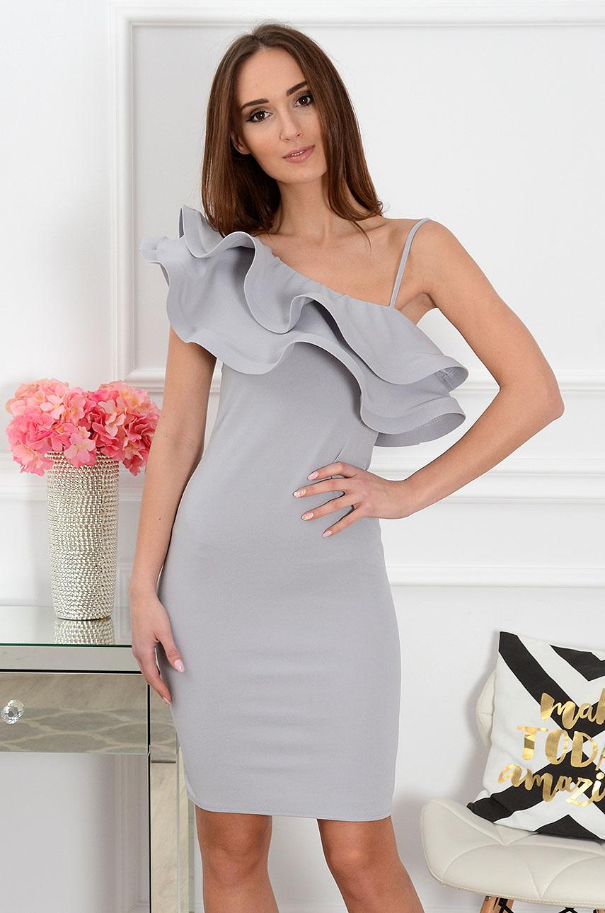 Sukienka z asymetryczną falbaną Pucci szara Rozmiar: UNI