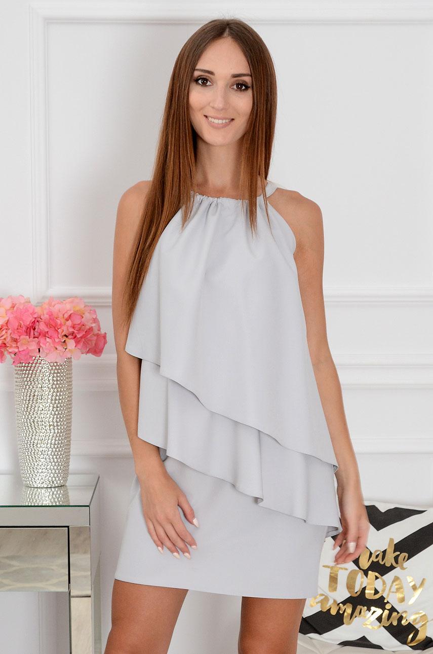 Sukienka z asymetrycznych falban szara Kiara Rozmiar: M