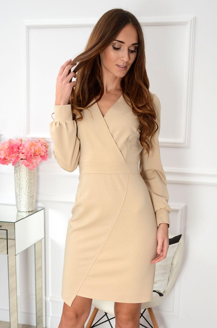 Sukienka z asymetrycznym dołem Parissa beżowa Rozmiar: M/L