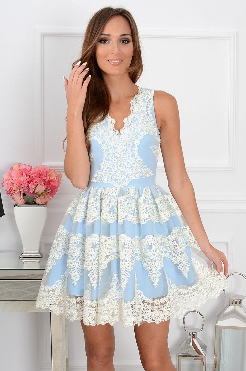 Sukienka z gipiury Luxury Lace biało-błękitna Rozmiar: XS
