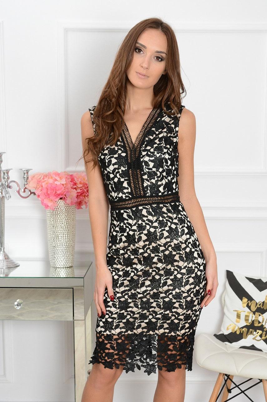 Sukienka z gipiury czarno-beżowa Alice Size+ Rozmiar: XL