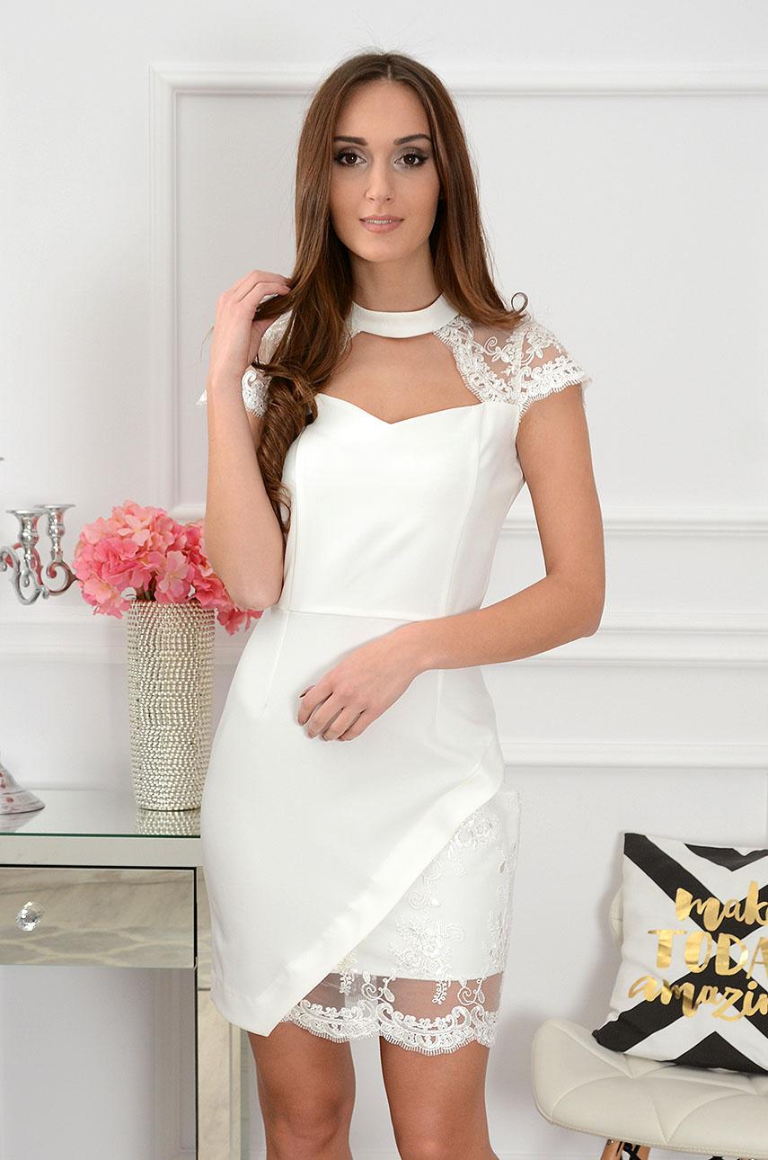 Sukienka z koronką biała Lucida Rozmiar: L