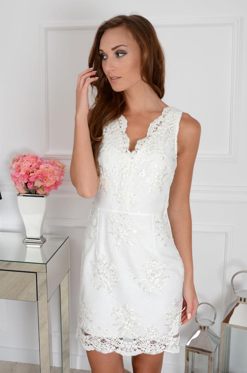 Sukienka z koronki Blanca bez rękawów kremowa Rozmiar: L