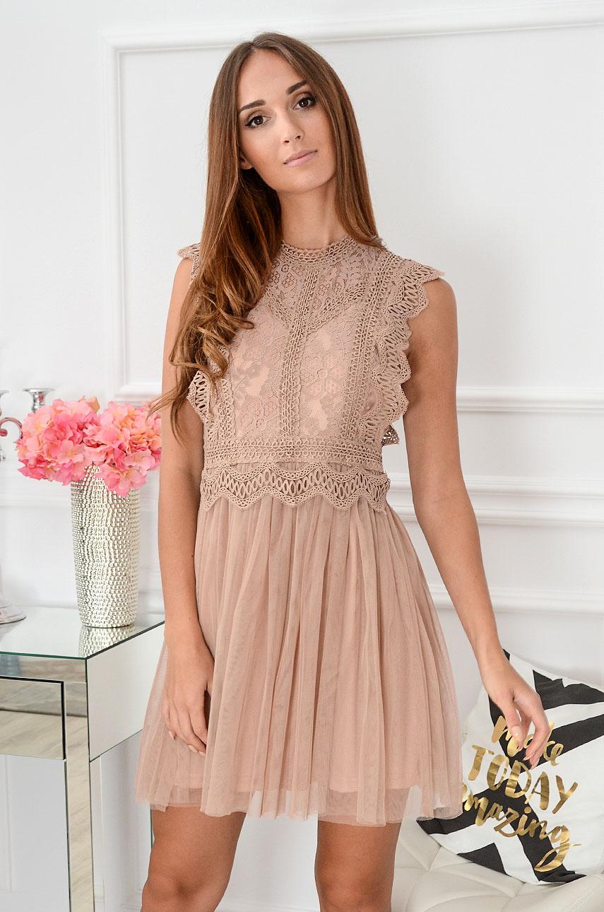 Sukienka z koronki i tiulu Passion brudny róż Rozmiar: S