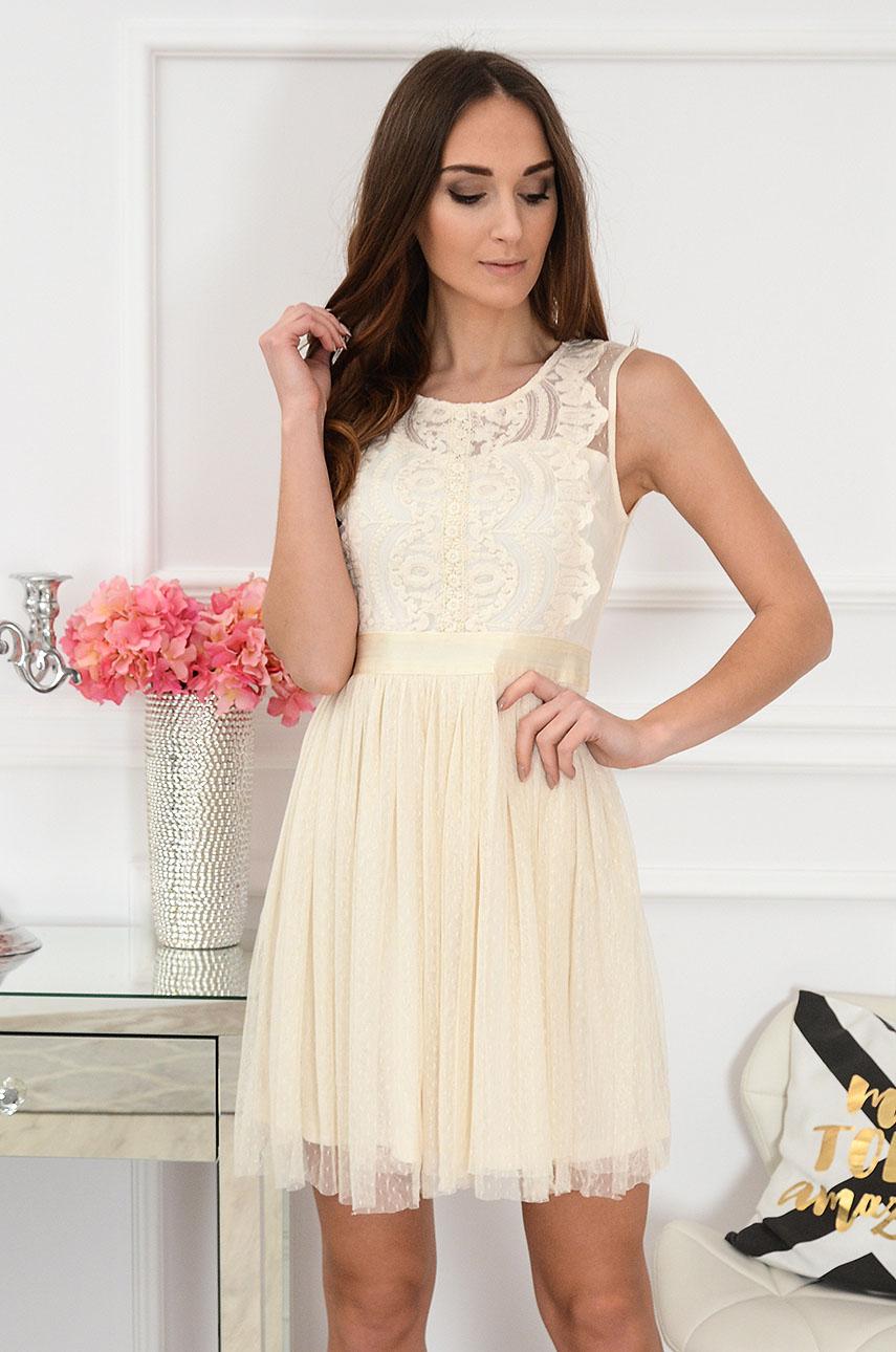 Sukienka z koronki i tiulu beżowa Doll Rozmiar: L