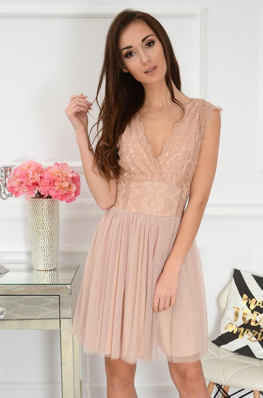 Sukienka z koronki i tiulu kopertowy dekolt brudny róż Cezire Rozmiar: S