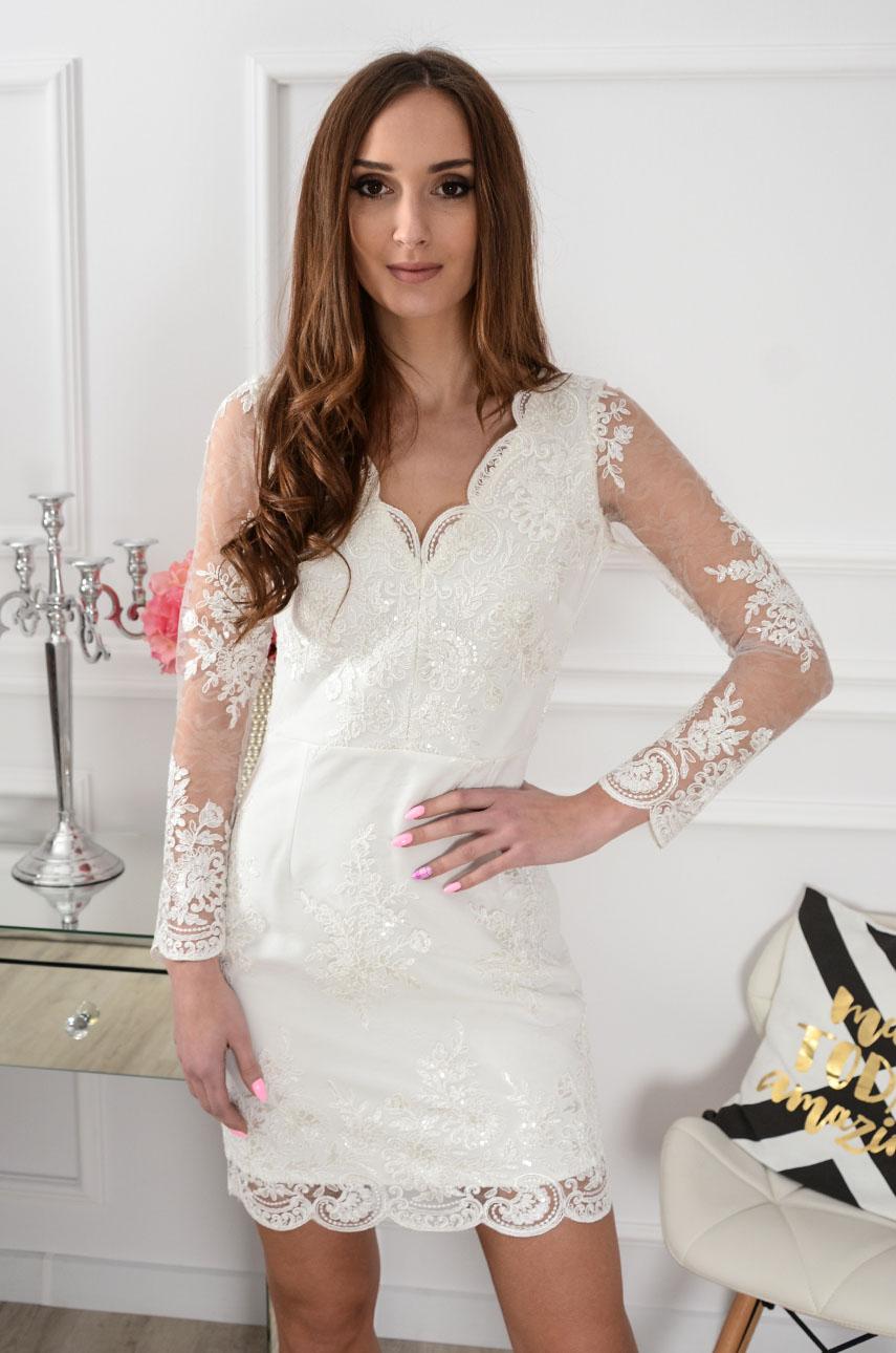 Sukienka z koronki kremowa new Blanca Rozmiar: S