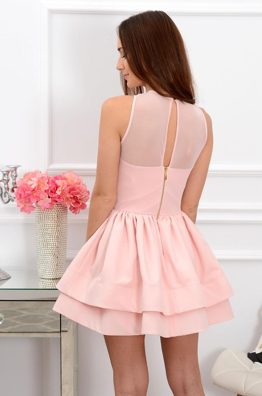 Sukienka z marszczoną siateczką pudrowa Nessa Rozmiar: S