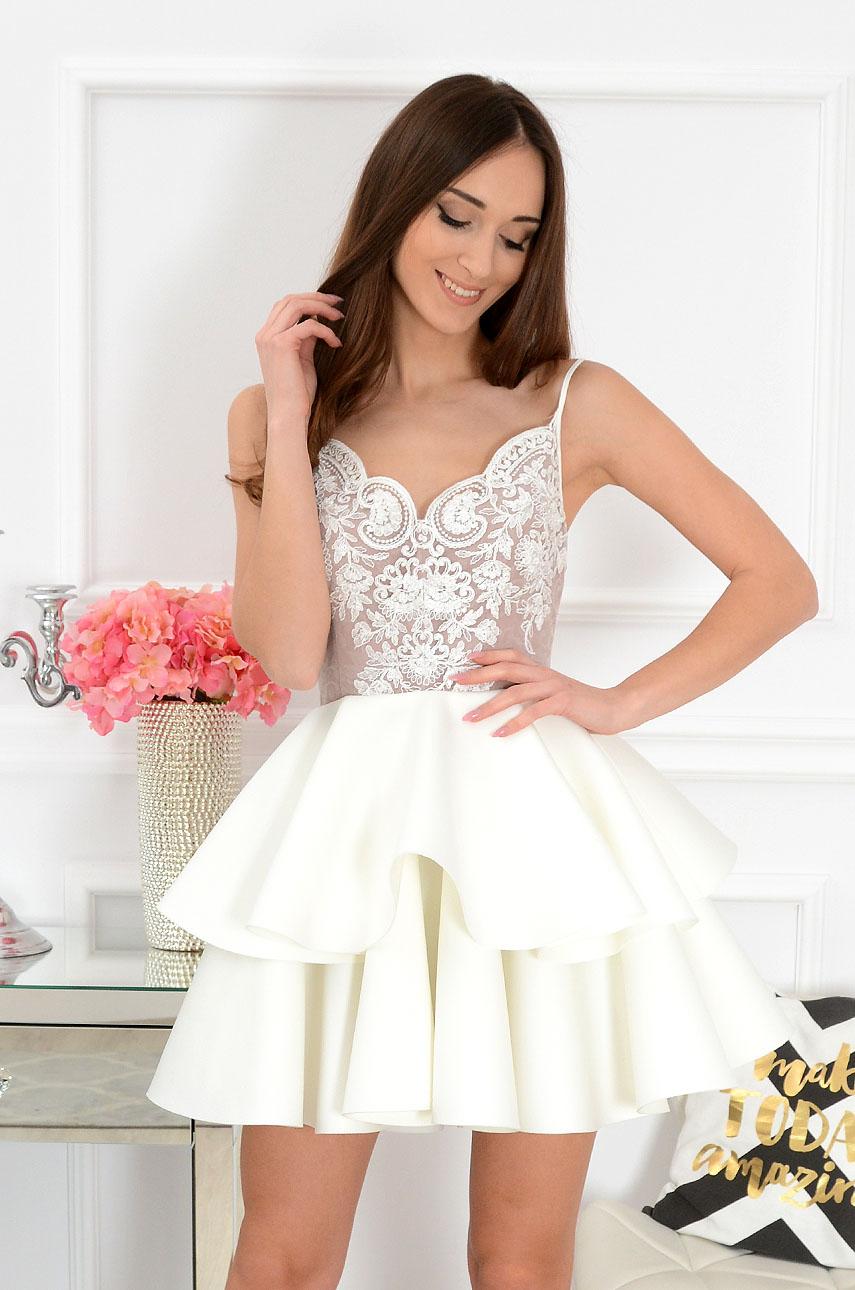 Sukienka z podwójną falbaną beżowo-kremowa Sissi New Rozmiar: S