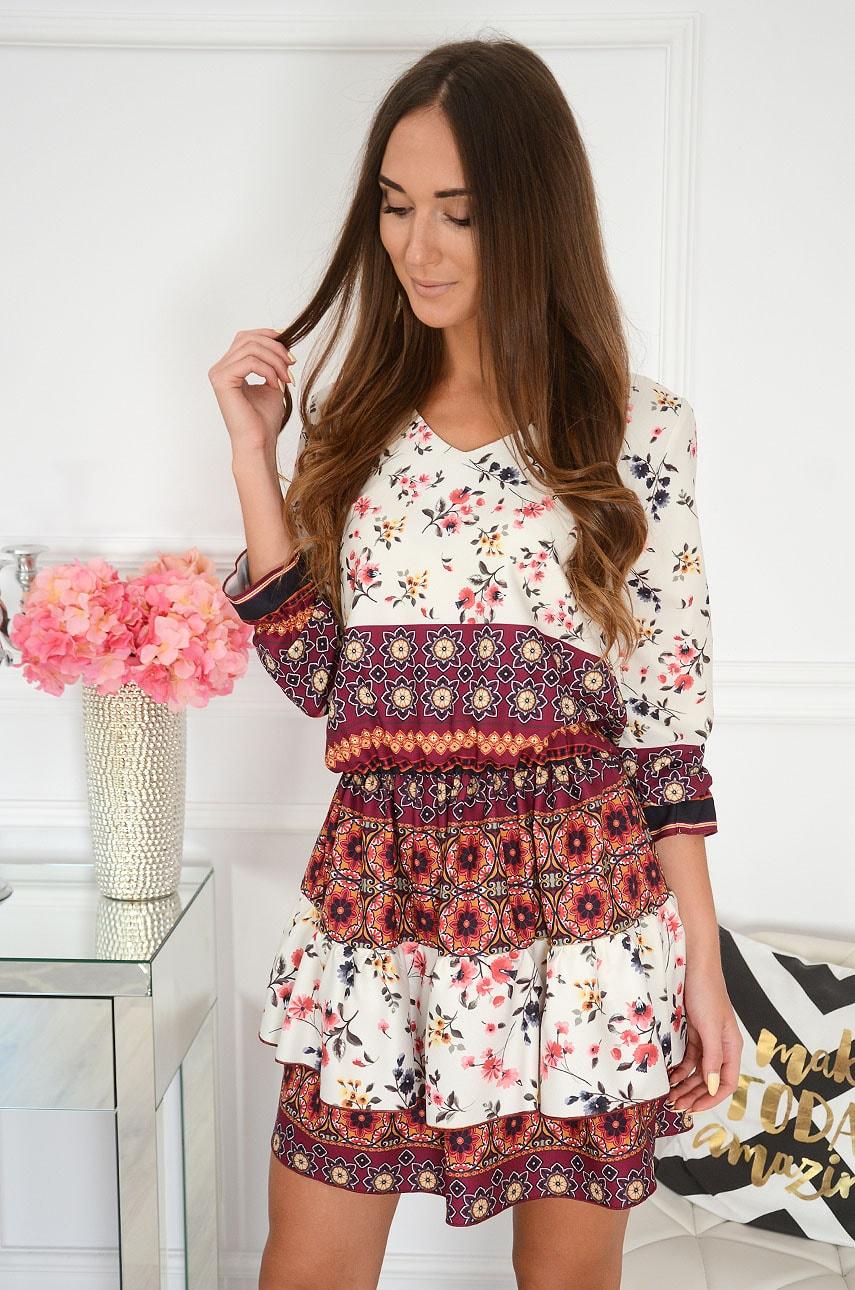 Sukienka z podwójną falbaną w kwiaty kremowo-burgundowa Blom Rozmiar: UNI