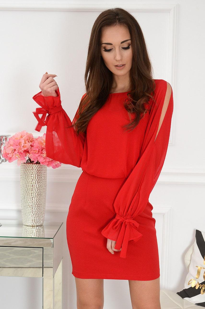 Sukienka z szyfonową górą rozcięte rękawy czerwona Anise Rozmiar: XS