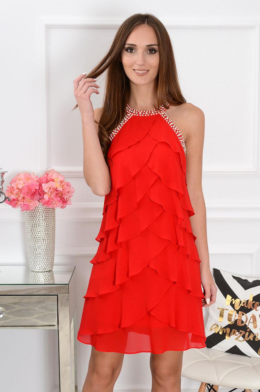 Sukienka z szyfonowych falban czerwona Belissa Rozmiar: XL