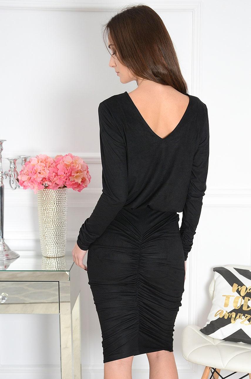 Sukienka zamszowa z marszczeniem czarna Irmina Rozmiar: S