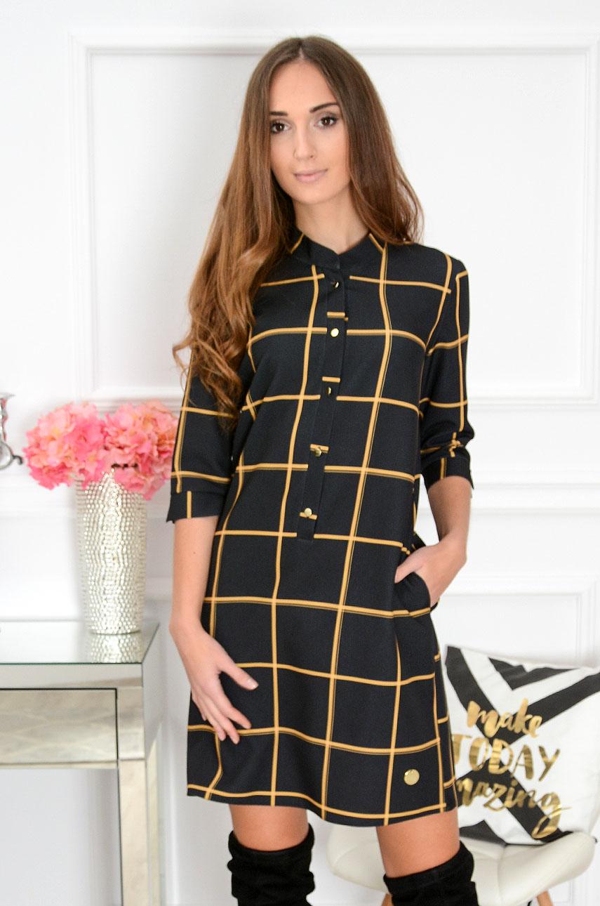 Sukienka ze stójką Angie w kratę czarno-musztardowa Rozmiar: S