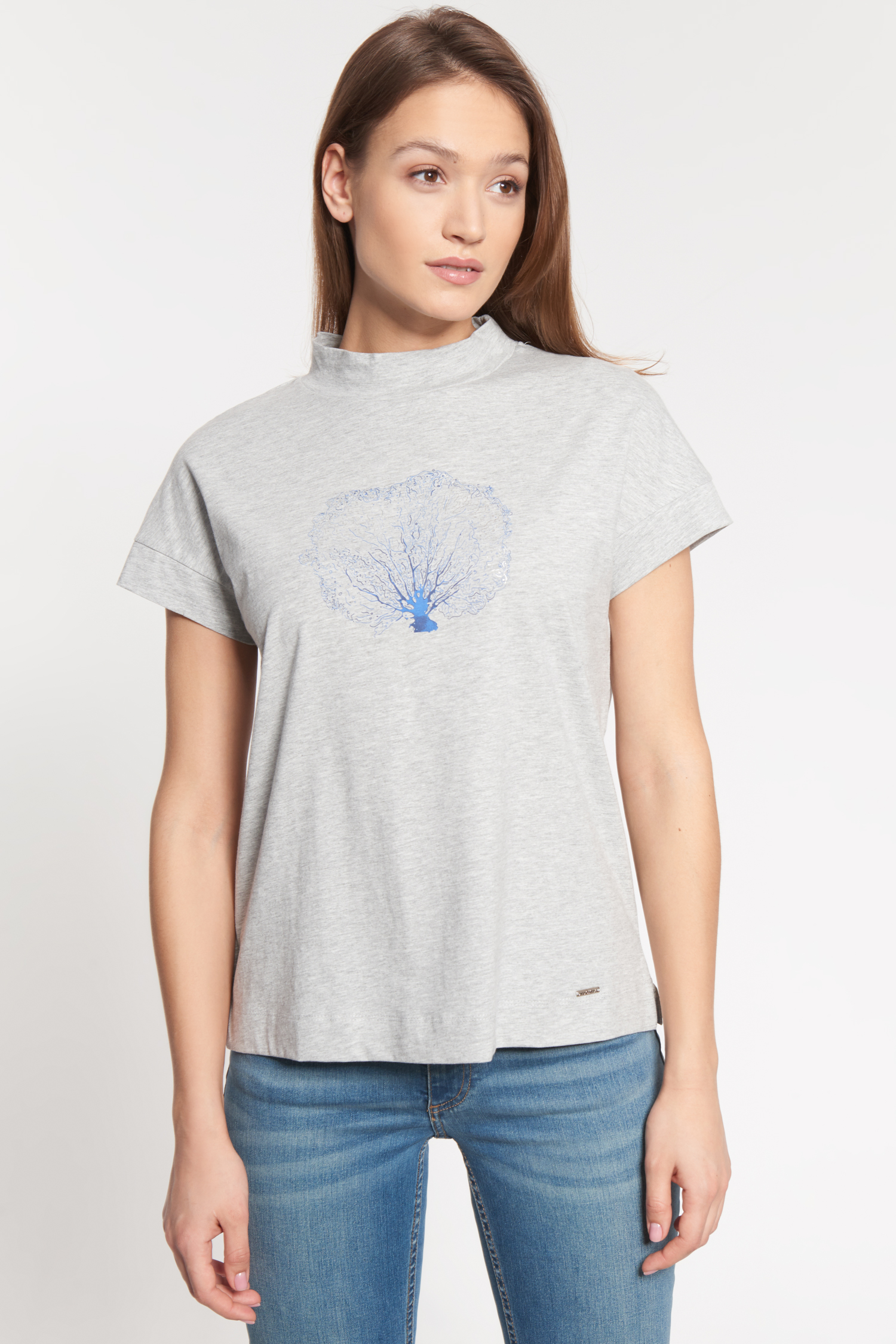 Szara bawełniana bluzka ze stójką