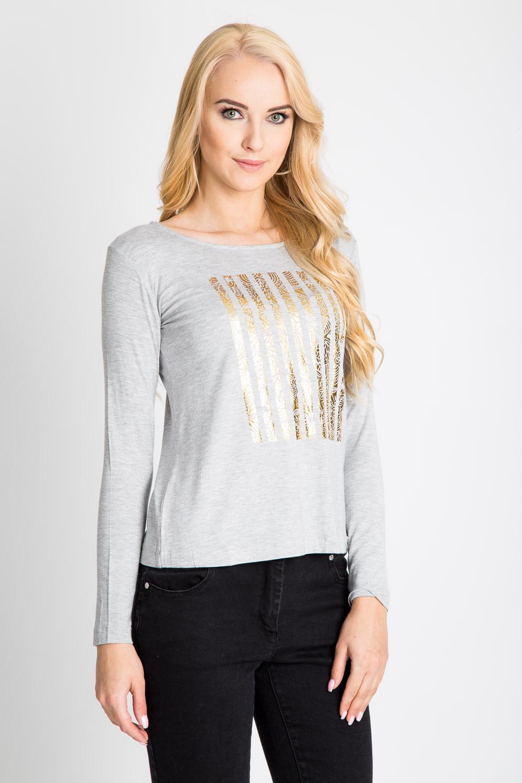 Szara bluzka ze złotym nadrukiem