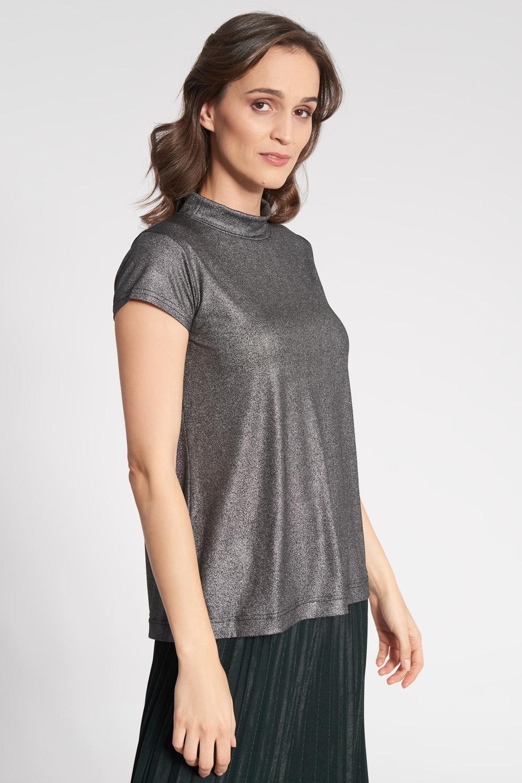 Szara metaliczna bluzka ze stójką