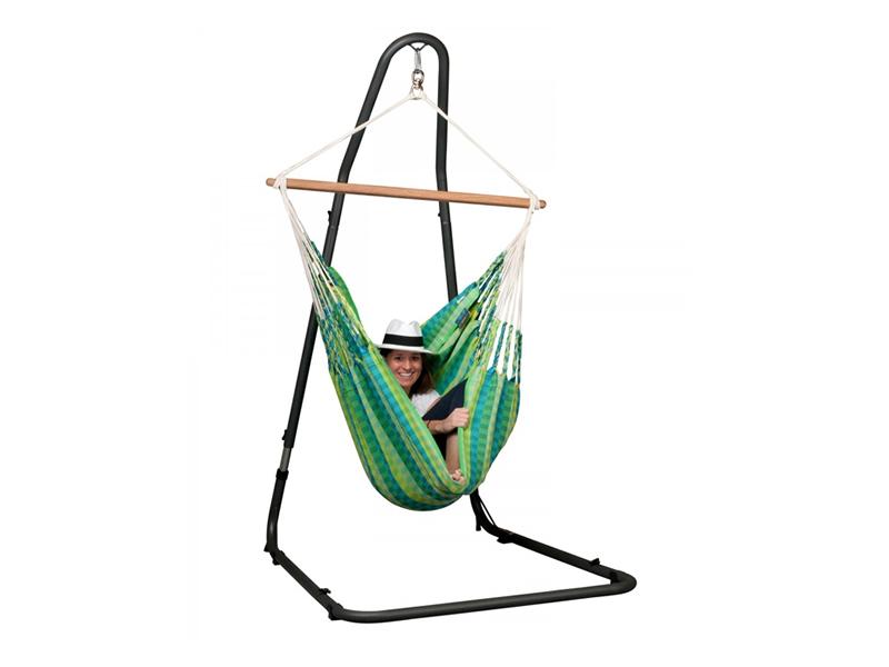 Zestaw hamakowy: dwuosobowy fotel hamakowy Carolina ze stojakiem Mediterraneo, Zielony CAC16MEA12