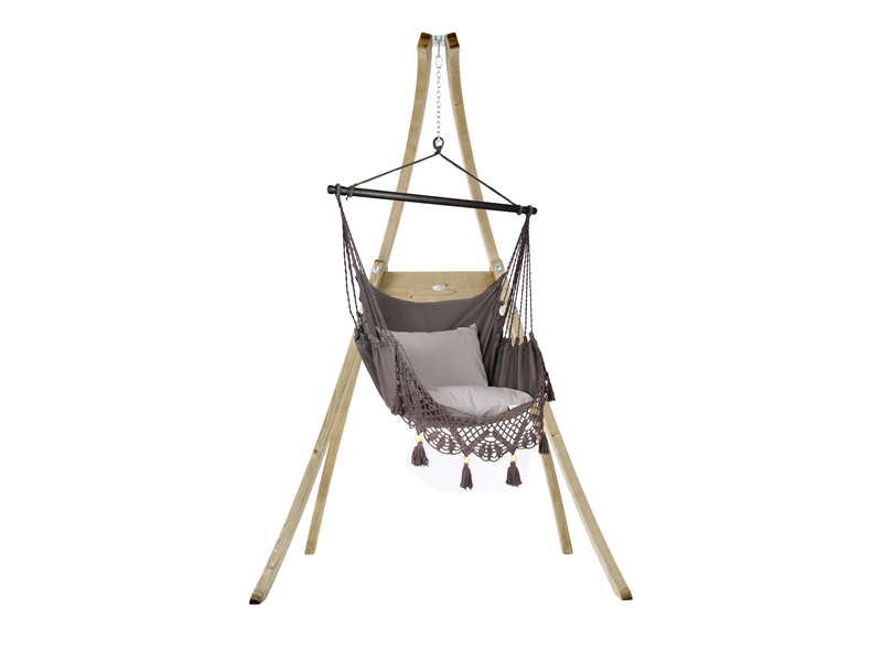 Zestaw hamakowy: fotel AHC-11 ze stojakiem drewnianym Atlas, Szary fotel AHC-11+stojak Atlas