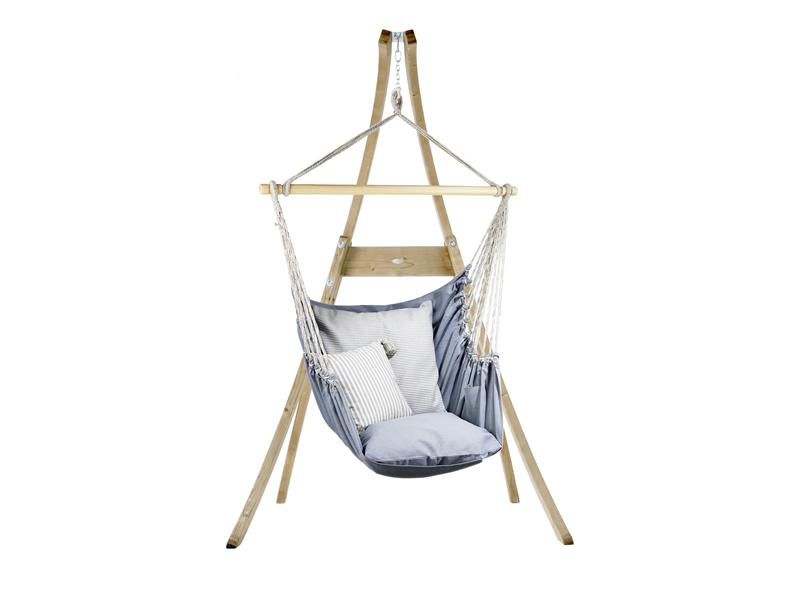 Zestaw hamakowy: fotel AHC-12 ze stojakiem drewnianym Atlas, jeans fotel AHC-12+stojak Atlas