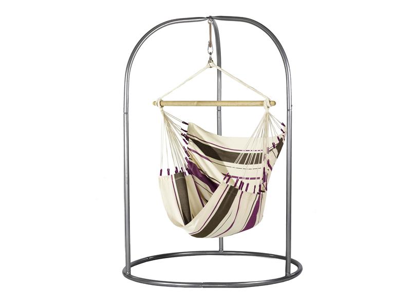 Zestaw hamakowy: fotel hamakowy Caribena ze stojakiem Romano, Fioletowy CIC14ROA16