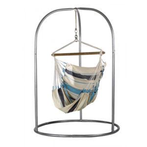Zestaw hamakowy: fotel hamakowy Caribena ze stojakiem Romano, niebiesko-biały CIC14ROA16