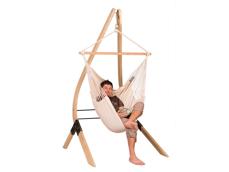 Zestaw hamakowy: fotel hamakowy Modesta ze stojakiem Vela, ecru MOC14VEA13